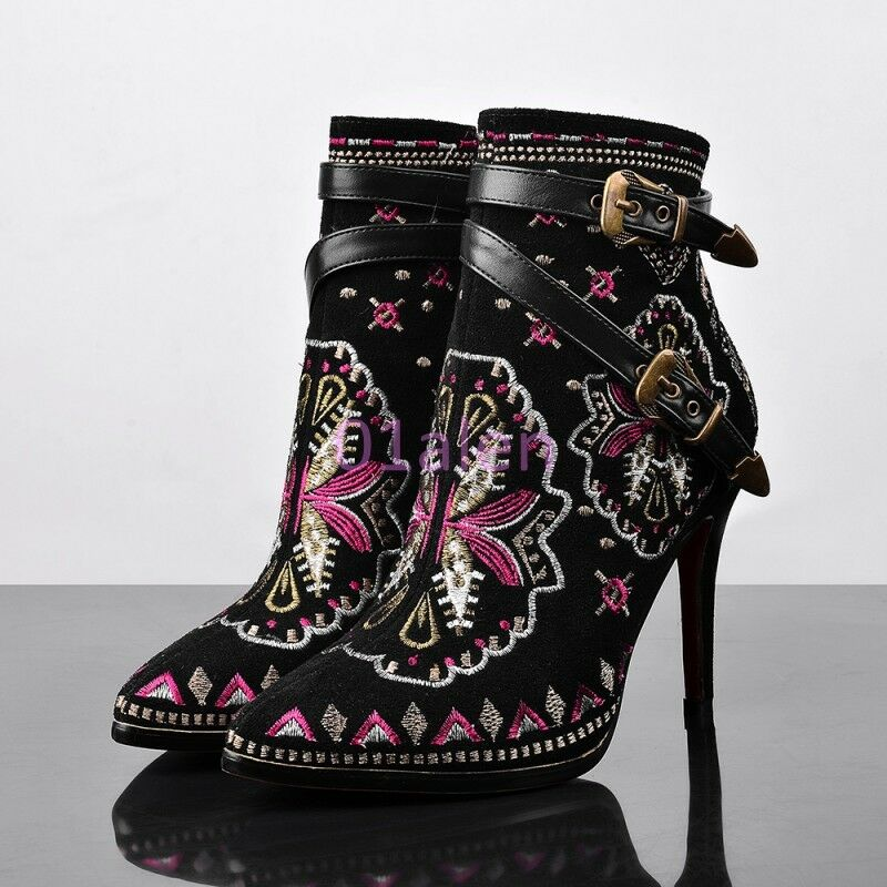 Donna Party Ankle Boots High Heels Buckle Strap Embroidery Floral Boho Shoes