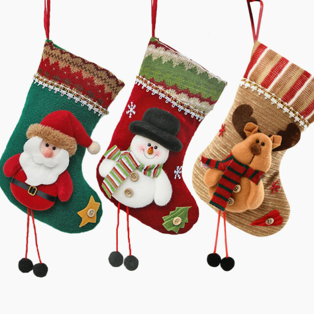 3d Christmas Stocking Socks Santa Snowman Elk Hanging