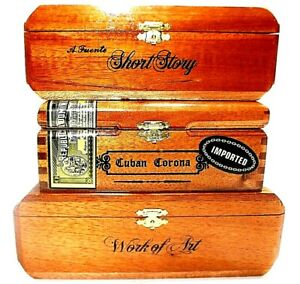 Wood-Cigar-Boxes-SET-OF-3-A-Fuente-Hemingway-Gold-Hinge-Lid-Craft-Purse-Project