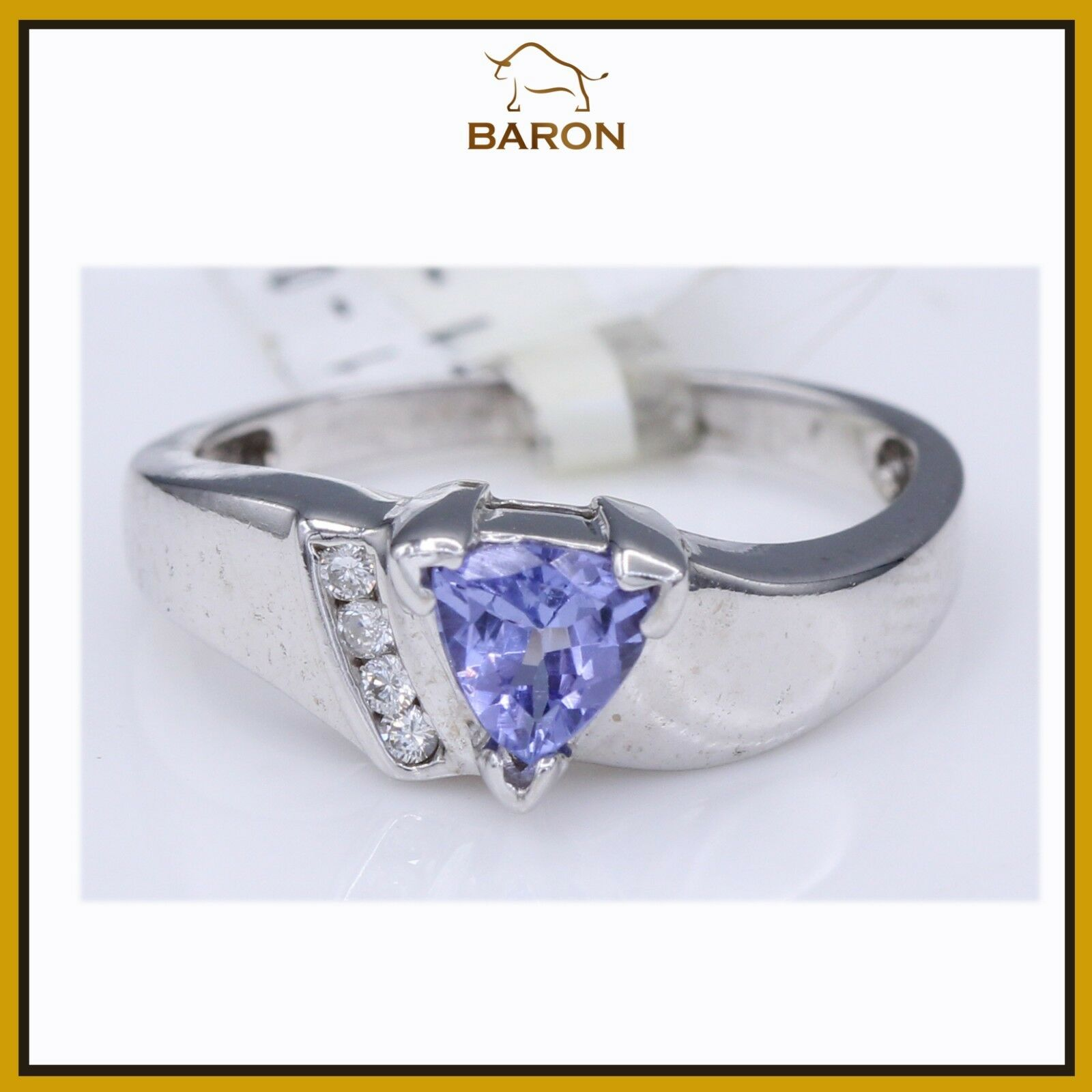 TANZANITE RING 14K WHITE gold & DIAMONDS VINTAGE TANZANITE RING SIZE 6.5 (md50