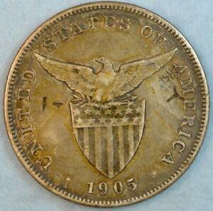 US-PHILIPPINES-ONE-PESO-1905-S-WITH-5-NICE-CHOPMARKS-VERY-SCARCE-RARE-78119