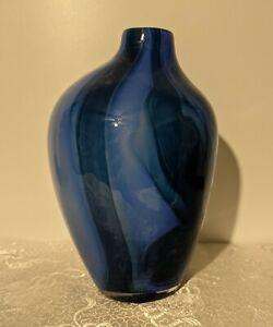 Anthropologie Offset Art Glass Vase - Cobalt & Light Blue Swirls - Contemporary