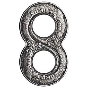 Australia-2018-Innovative-Figure-Eight-Shape-Dragon-2oz-2-Silver-Antiqued-Coin