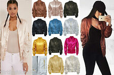 Satin MA1 Bomber Jacket Vintage Summer Coat Flight Army Biker Retro Women Ladies