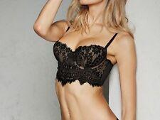 34DD Victoria Secret Dream Angels Long Line Demi Bra Black Eyelash Lace Fishnet