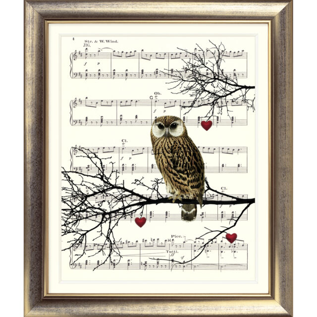 ART PRINT ORIGINAL VINTAGE MUSIC SHEET Page OWL Hearts Bird Tree Love OLD Wall