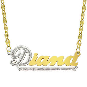 eda0dc846f6979 Image is loading 14K-Two-Tone-Gold-Personalized-Name-Plate-Necklace-