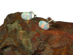 Feurige-ovale-weisse-Opal-Sterling-Silber-925-Edelstein-Ohrstecker-5-x-7-mm