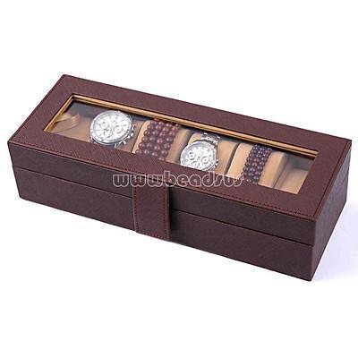 6 Slot Leather Watch Box Display Organizer Glass Top Jewelry Storage Case