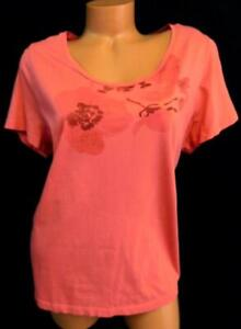 St-john-039-s-bay-orange-floral-print-short-sleeve-scoop-neck-plus-size-tee-top-1X
