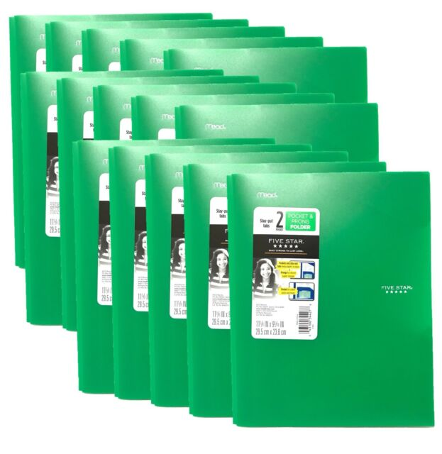Green Plastic Folders Heavy Duty 3 Prong New Tab Pockets ...
