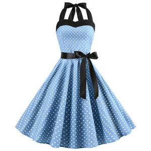 50s-60s-retro-Rockabilly-Pinup-Housewife-Party-Swing-Women-039-s-Vintage-Dress