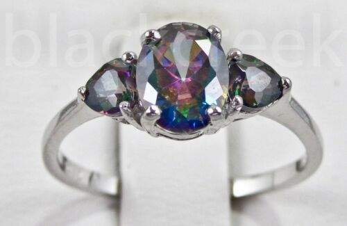 Oval with Heart Accents ~ Rainbow Topaz CZ Sterling Silver Ring ~ Choose Size