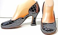 Women's Anyi Lu Black Patent Leather Croc Print Pumps Heels Shoes sz 5½ - 6  M