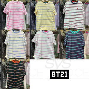 BTS-BT21-Official-Authentic-Goods-Striped-Short-Sleeve-T-Shirt-by-Line-Friends