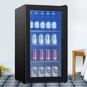 120-Cans-3-1-Cu-Ft-Beverage-Soda-Beer-Bar-Mini-Fridge-Cooler-Glass-Door-Black