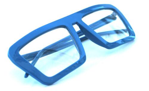 Men/'s Women/'s Square Shape Retro Vintage Clear Lens Eye Glasses Blue Hip Hop EDM