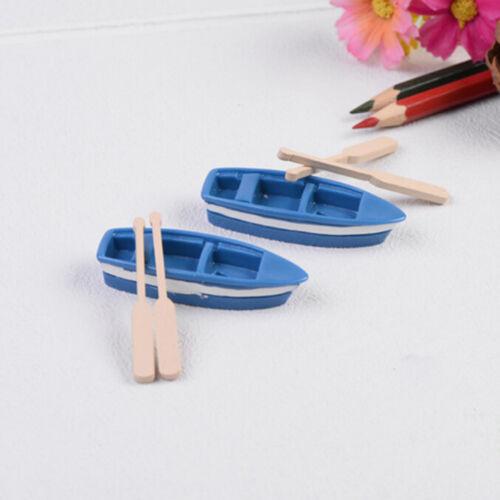 2 Sets Boat Miniature Figurine Garden Ornament Plant Fairy Decor Office Craft Sh