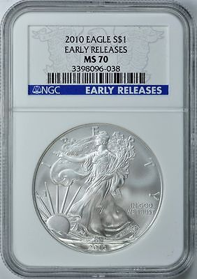 2010 SILVER AMERICAN EAGLE NGC MS70 DOLLAR $1 EARLY RELEASES