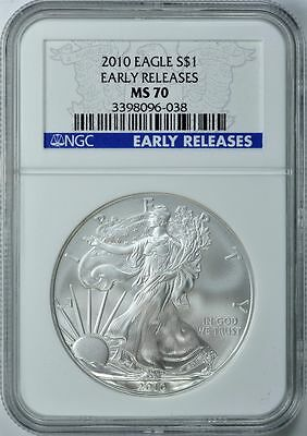 2017 SILVER EAGLE S$1 Blue Early Releases NGC MS70