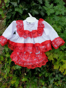 DREAM 0-5 YEARS BABY GIRL red white  SPANISH TOP AND FRILLY PANTS ROMPER SET