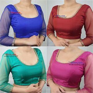 Saree-Blouse-New-Designer-Quarter-Sleeves-Sari-Indian-Party-Wear-Bollywood-Dress