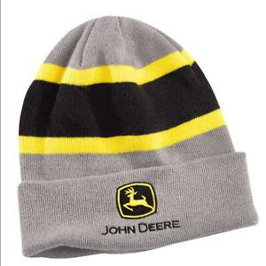 JOHN DEERE *GREY YELLOW BLACK STRIPE* STOCKING CAP Trademark Logo HAT BRAND NEW