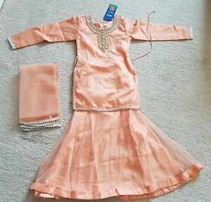 c30cd5adb Asian Party Wear Lengha Top For Kids Size 22 Peach New!!! | eBay