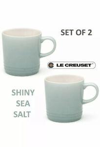 New Le Creuset Stoneware Set of 2 Coffee Mug 12 oz, 350 ml Shiny Sea Salt Blue
