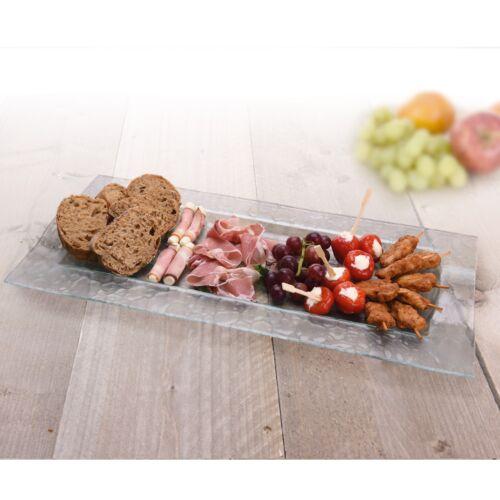 Verre Serving Food Display Plaque Bowl Dish Dîner Center Table Léger Neuf