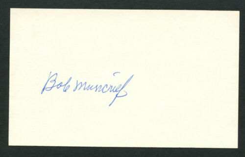 Bob Muncrief d. 1996 signed autograph Baseball 3x5 Index Card 401204