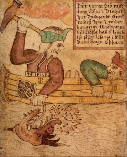 Viking Norse Mythology God Thor and Hymir 6x5 Inch Print