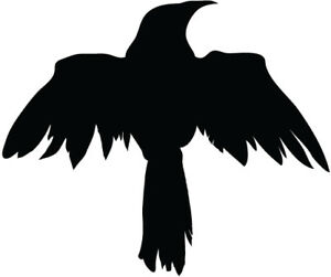 Raven Silhouette Vinyl Decal Sticker Raven Crow Birds Ebay