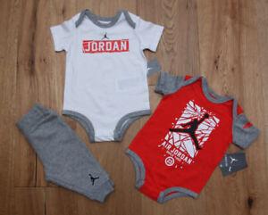 49f2559a4e4 Air Jordan Infant Boy 2 Short Sleeve Bodysuits & Pants Set ~Gray ...