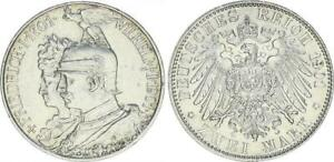 Preußen 2 Marco 1901A Kaiser Wilhelm Ii. Aniversario De Friedrich I. 300 Años De