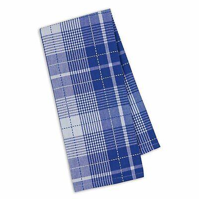 Set of 2 Design Imports DUSK BLUE WINDOWPANE Cotton Dish Towels