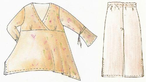 pantalones romaníes 98-104 Patrones de corte niños Lagenlook túnica
