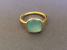 AQUA Chalcedony Square Gold Stackable Ring Faceted Vermeil Gold Ring Size 6