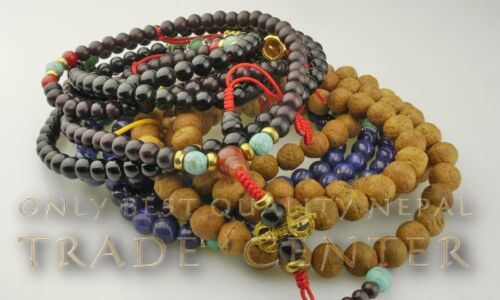 Nepal  Schmuck Halskette Mala Knochen Tibet Rosenkranz Rosaire Lama 86e