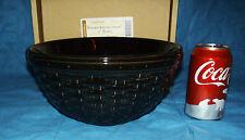 "EBONY Black Basket Weave Woven Reflections 9"" Pottery Bowl New Longaberger 88 oz"