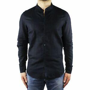 Camicia-Uomo-Collo-Coreana-Lino-Slim-Fit-Manica-Lunga-Estiva-Sartoriale-Blu