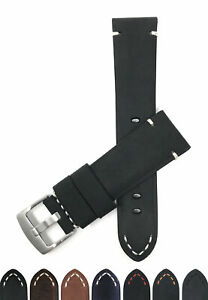 Bandini-Distressed-Leather-Watch-Band-Strap-Black-Brown-Tan-20mm-22mm-24mm