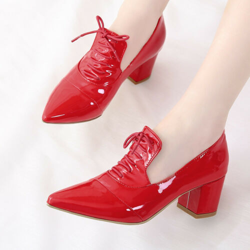 Sweet Women/'s Patent Leather Chunky Oxfords Mid Heels Pointed Toe Lace Up Shoes