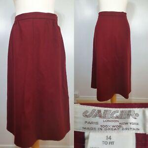 Jaeger-Vtg-Ladies-Red-Wool-A-line-Skirt-Size-14-10-Smart-Career-Work-Winter