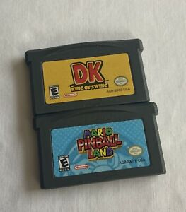 Nintendo-Gameboy-Advance-GBA-Mario-Pinball-Land-amp-DK-King-of-Swing-2-Game-Lot