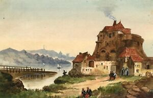 Continental-View-with-Riverside-Barracks-19th-century-watercolour-painting