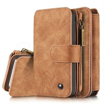iPhone SE 5S 5 Phone 8 Card Slots Leather Wallet Folio Zipper Case Cover New Uk