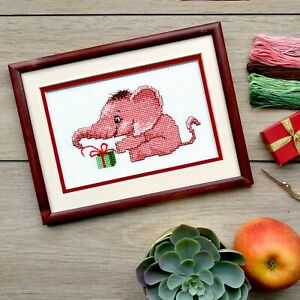 Baby-Pink-Elephant-Cross-Stitch-KIT-For-Beginners-Animal-Embroidery-Kit-DIY