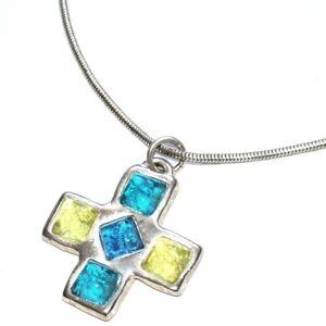 BALA-BOOSTE-Collier-plaque-argent-pendentif-croix-bleu-jaune-bijou-necklace