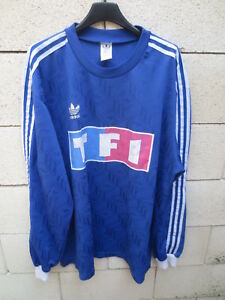 Maillot-COUPE-de-FRANCE-porte-n-2-bleu-TF1-football-collection-shirt-vintage-XL